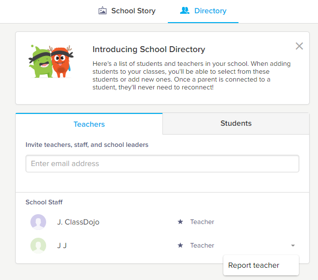 Report or Remove Teachers from the School Directory