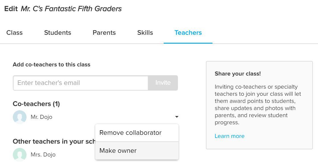 Transfer a Class to Another Teacher – ClassDojo Helpdesk